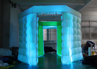 2 Doors Inflatable Photo Booth Kiosk Diamond Shape With Air Blower