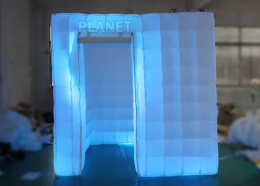 2.5 M Led Inflatable Photo Booth One Door With Color Changing Light