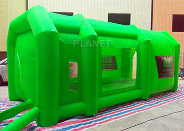 Green Color Inflatable Spray Paint Booth 3 D Design For Trade Show
