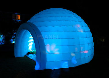 Led Lighting Inflatable Igloo Tent , Oxford Cloth Inflatable Tents For Parties